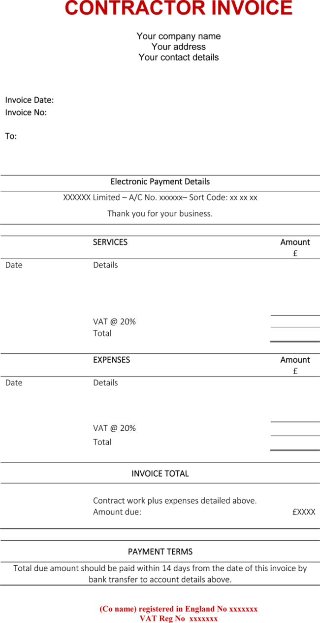 Contractor invoice template word